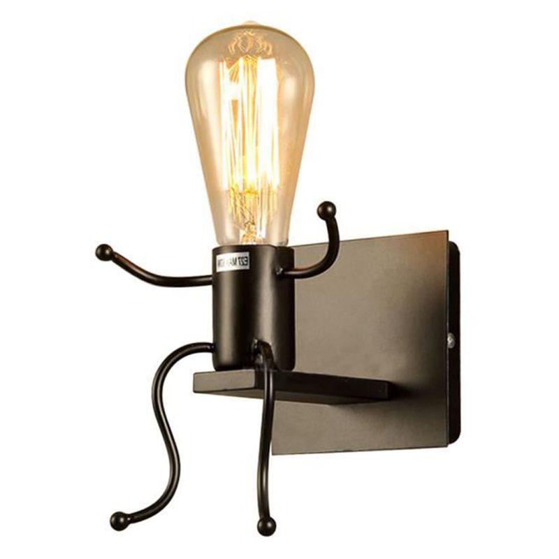 NEUE Kreative wand lampe E27 Mann form leuchte Nette licht Eisen innenwand licht für Schlafzimmer Büro Cafe Bar NEWel