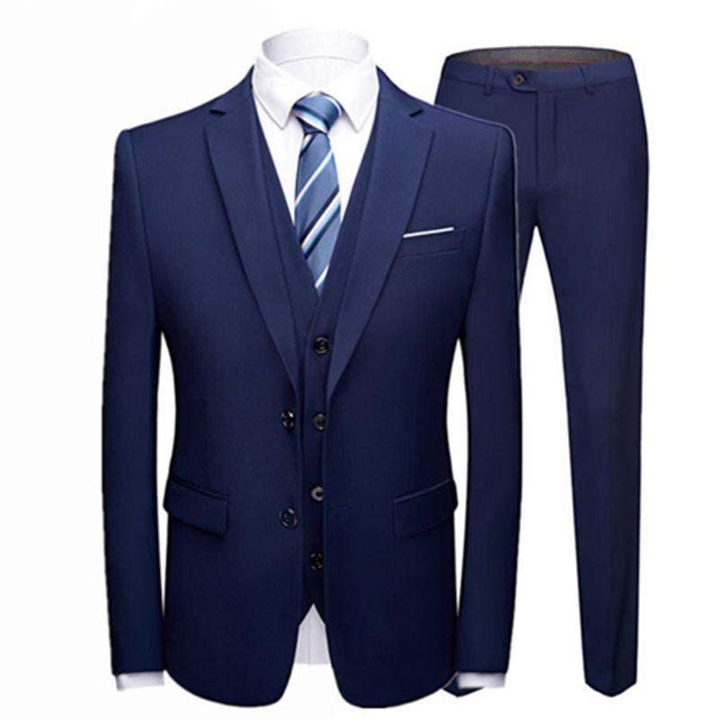 19 Color / 2018 Fashion Men's Casual Business Suit 3 Pieces Set / Men's Two button Suits Blazers Trousers Pants Vest Waistcoat