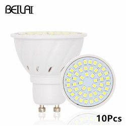 BEILAI 10 pcs 2835 GU10 Bombillas Led Ampoules Lumières 220 V 2835 Lampada De LED Lampe GU 10 Ampoule LED Spotlight Bougie Luz Lamparas