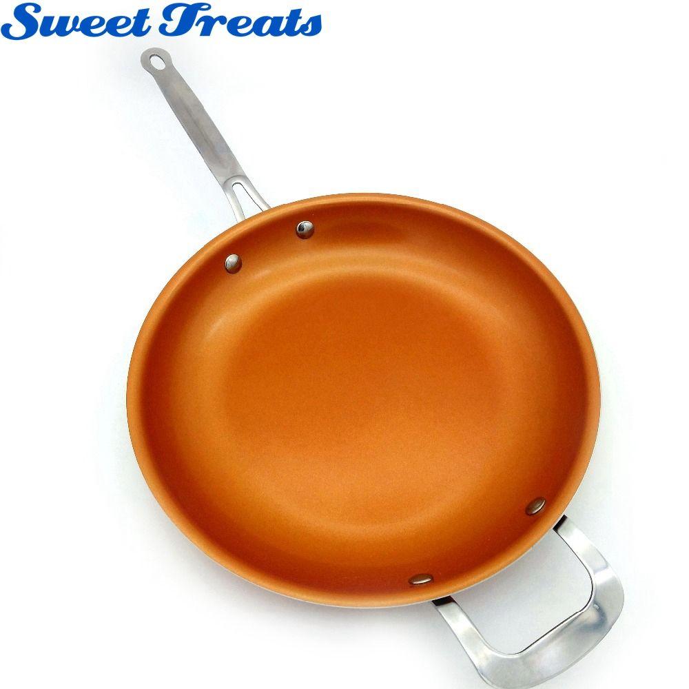 Сладкие угощения антипригарным Медь сковорода с Керамика покрытие и индукционных плитах, печи и мыть в посудомоечной машине 12 дюйм(ов)