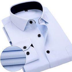 Nouveau Arrivé 2017 hommes chemises de travail Marque manches Longues rayé/sergé hommes robe chemises blanc mâle chemises 4xl 13 couleurs