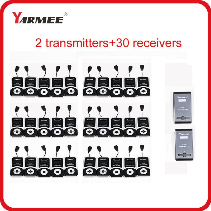 Yarmee Wireless Tour Guide Systems Small size Portable 2 Transmitters and 30 Receivers With Charging Case