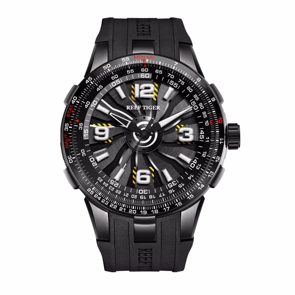 New Reef Tiger/RT Men's Sport Automatic Watches Black Steel Engine Whirling Dial Military Watches RGA3059