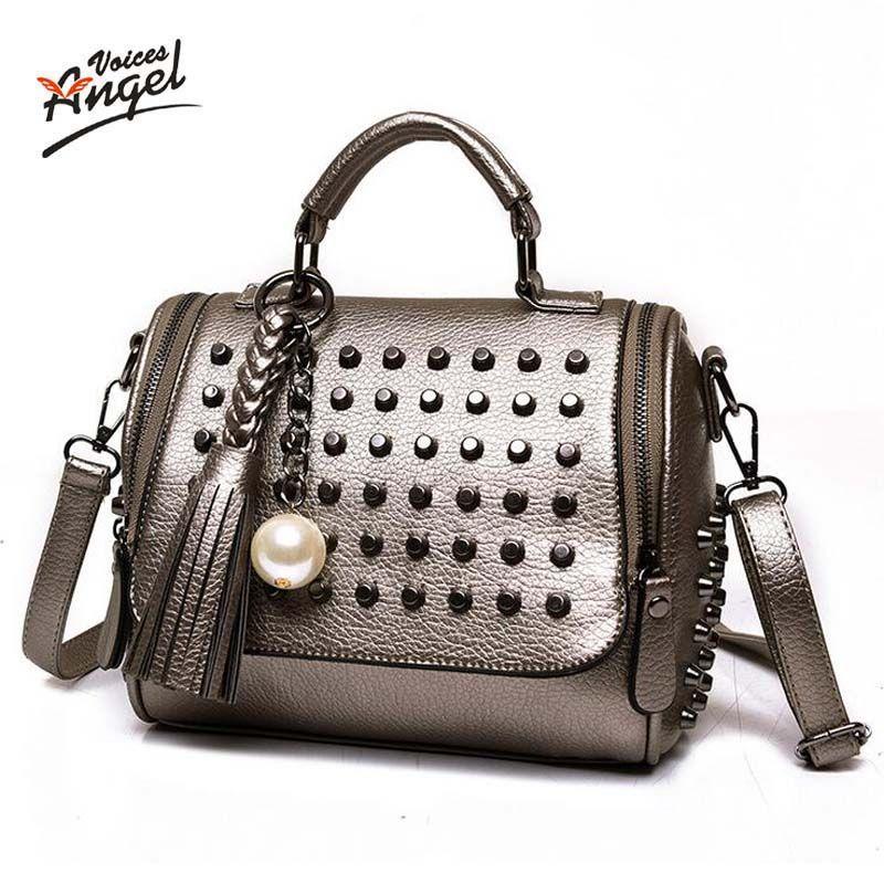 Luxury Handbags Women Bags Designer Handbags High Quality PU Leather Bag Famous Brand Retro Shoulder Bag Rivet Sac a main