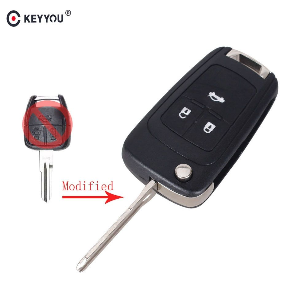 KEYYOU 3 Buttons Flip Folding Key Shell for Chevrolet Cruze Aveo Remote Key Case Uncut Blank Free Shipping