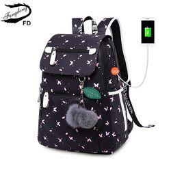 Женский рюкзак с USB-разъемом и принтом FengDong, черный школьный рюкзак для девочек, с принтом в виде бабочек, украшенный двумя плюшевыми мячикам...