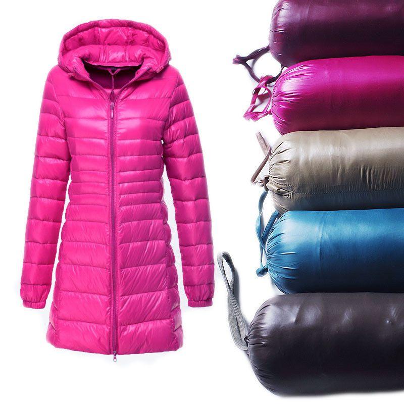 S~6XL 2017 New Autumn Winter Women Duck Downs Jacket Slim Parkas Ladies Coat Long Hooded Plus Size Ultra Light Outerwear AB038