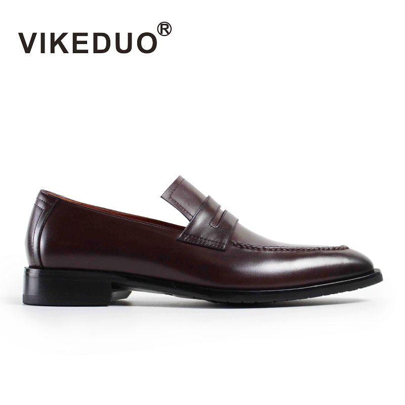 2019 Rushed Vikeduo Vintage Handgemachte Herren Loafer Schuhe Slip-on Echte Kuh Leder Mode Kausalen Kleid Party Original Design