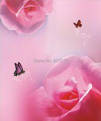 R-2814 печати растягивается потолочные пленки/красная роза фон с бабочкой для украшения стены/потолок украшения