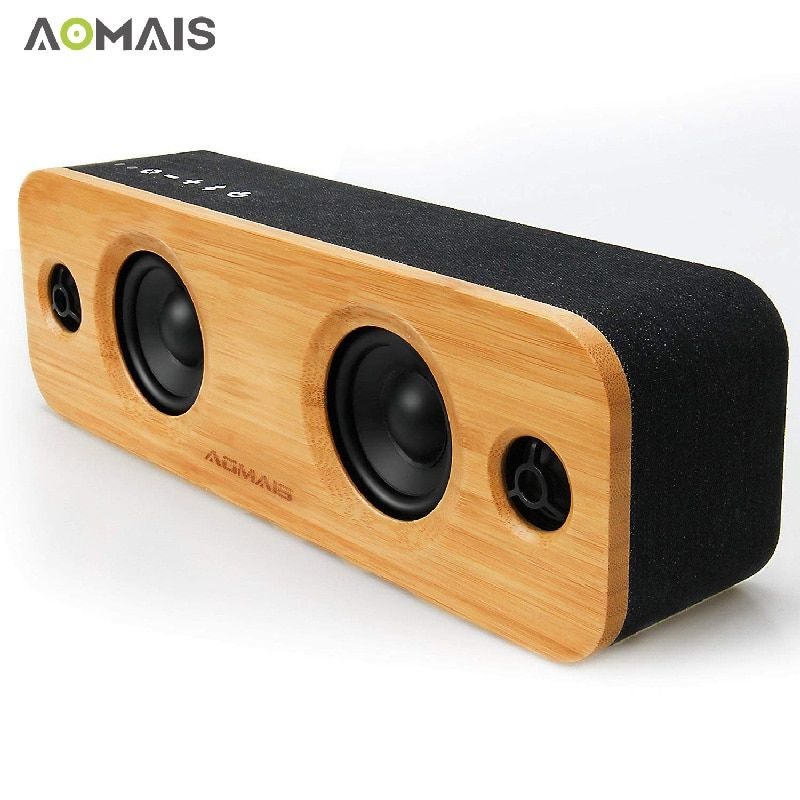 AOMAIS Life HiFi Bamboo Bluetooth Speakers Wooden Wireless Louder Speakers 30W Stereo Pairing 3EQ Modes for Home Party Subwoofer