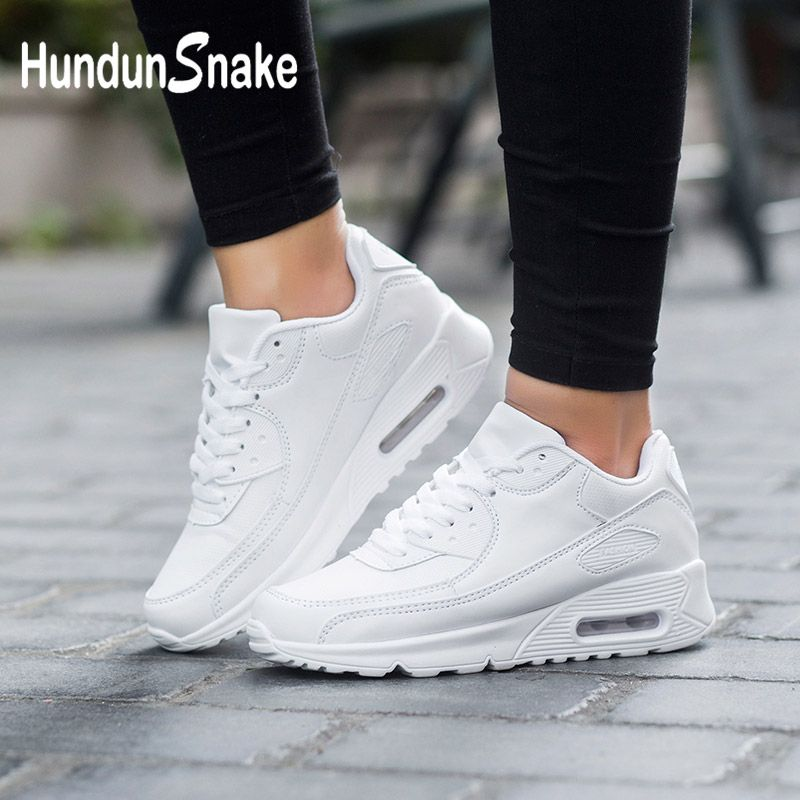 Hundunsnake Leather Women's Sneakers Air Cushion Women's Tennis Sports Shoes Men White Basket Femme 2018 Footwear Krassovki G-28