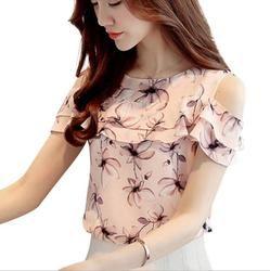 2017 mujeres fuera del hombro corto manga Blusas impresión floral gasa Camisas casual señoras ropa mujer blusas mujeres Tops