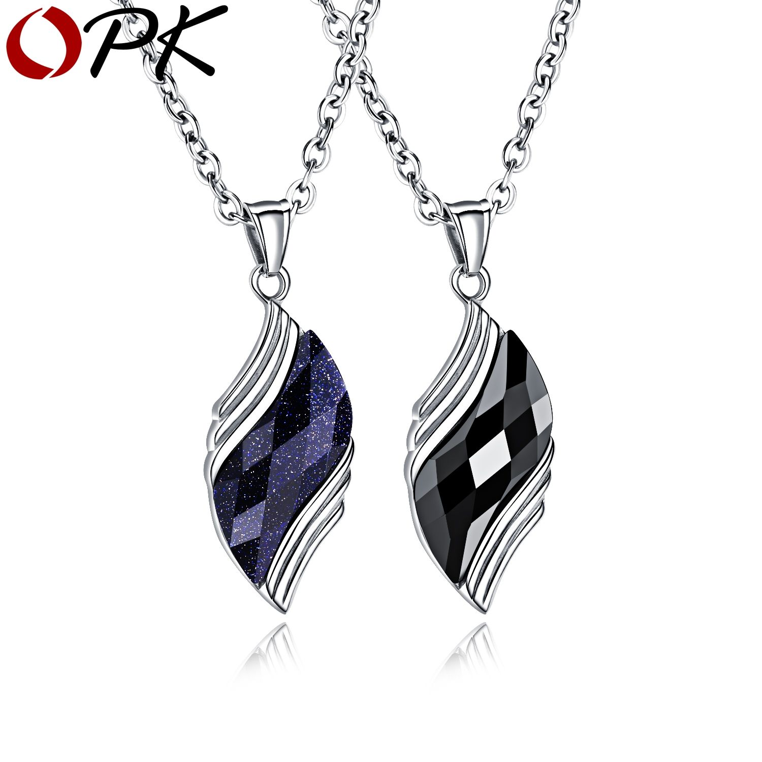 OPK OPK AAA+ Cubic Zirconia Men Necklace For Male Blue Rhinestone Stainless Steel Men Jewelry Necklaces <font><b>Charm</b></font> Link Chain GX001