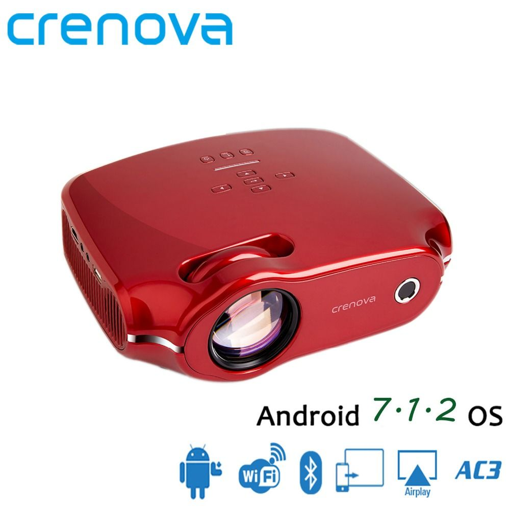 CRENOVA 2018 Newest Android 7.1 OS Video Projector For Full HD 4K Home Theater Movie Projector With WIFI Bluetooth 3200 Lumens
