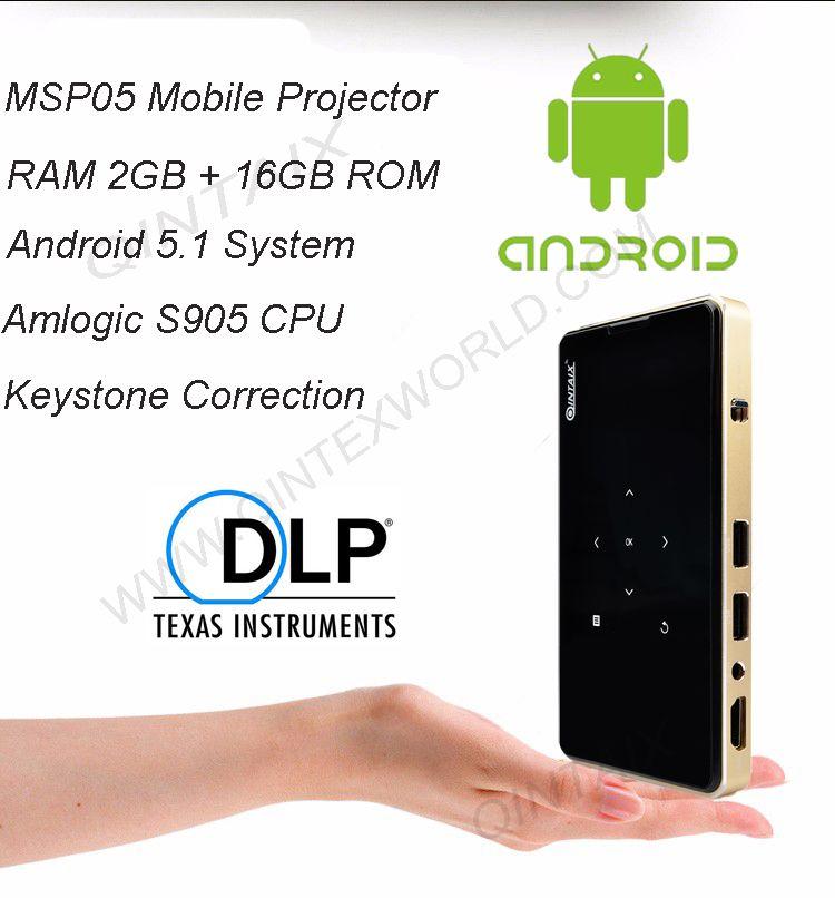 QINTAIX MSP05 Amlogic S905X Android Mini Projector 2GB+16GB Pocket Projector Keystone Correction + Support 4K Video play DLP
