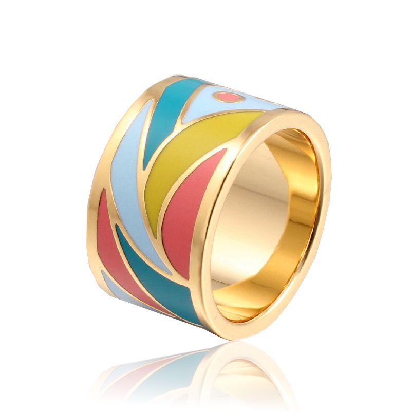 Oro de la alta Calidad Mediados de Color Esmalte Anillos para Mujeres Anillos de Acero Inoxidable de la Manera Joyería Del Anillo de Dedo al por mayor 13R0015
