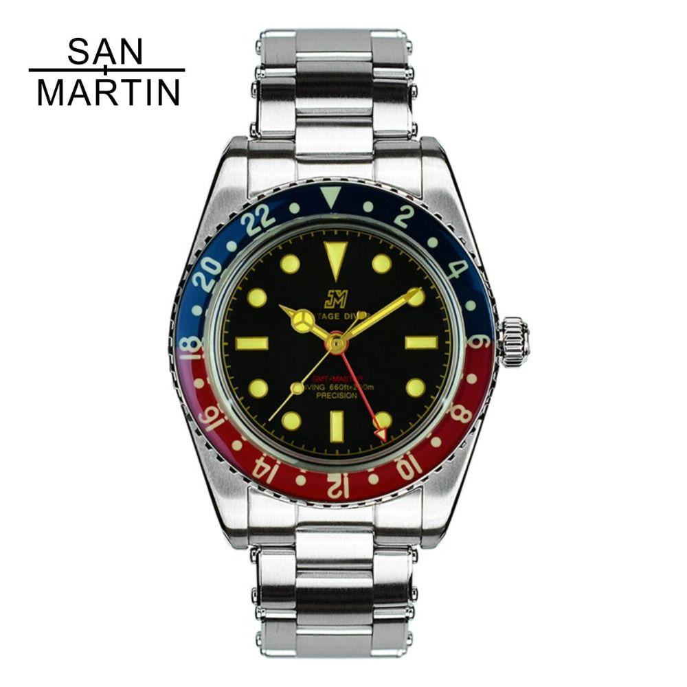 San Martin Männer Vintage Uhr Automatische Tauchen Uhr Stainlss Stahl Uhr 200 m Wasserdicht Saphir Kreis Retro Armbanduhr