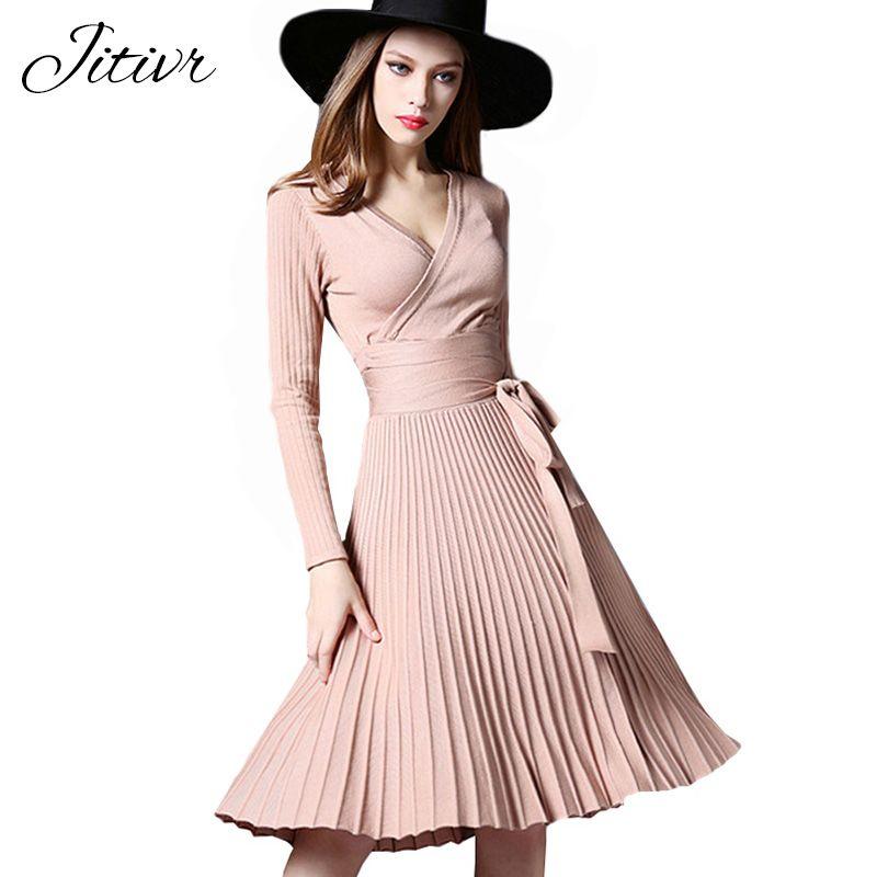 Haute Qualité Élégant Hiver Robe 2017 Robes Bureau Pour Les Femmes Décoratif Ceintures V-cou Solide Plus La Taille Vintage Robes