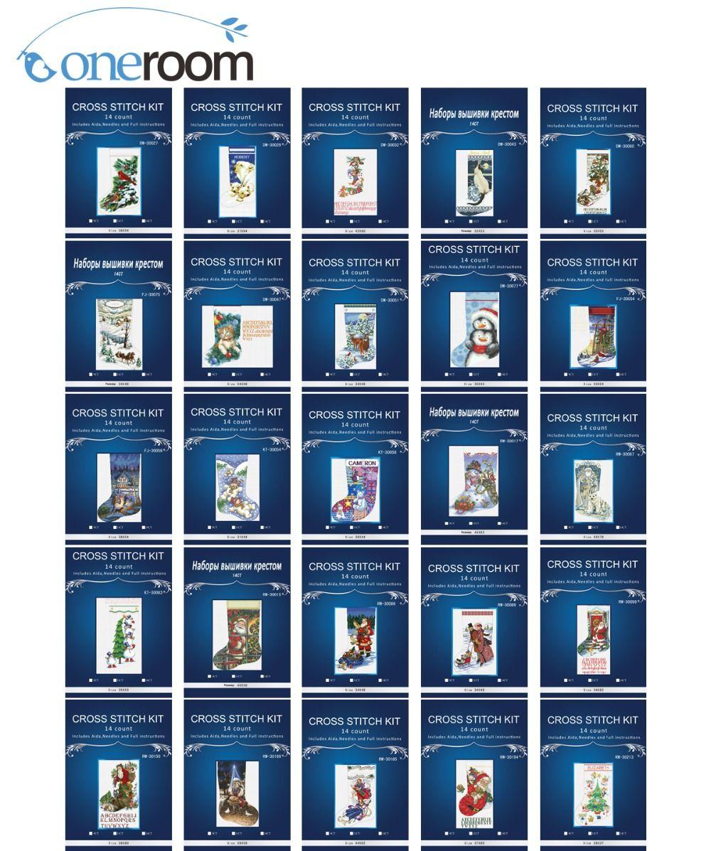 Chaussette de noël série Compté Point De Croix similal DMC Point De Croix Ensemble Kit Point de Croix pour la Broderie Décor Needlework3th