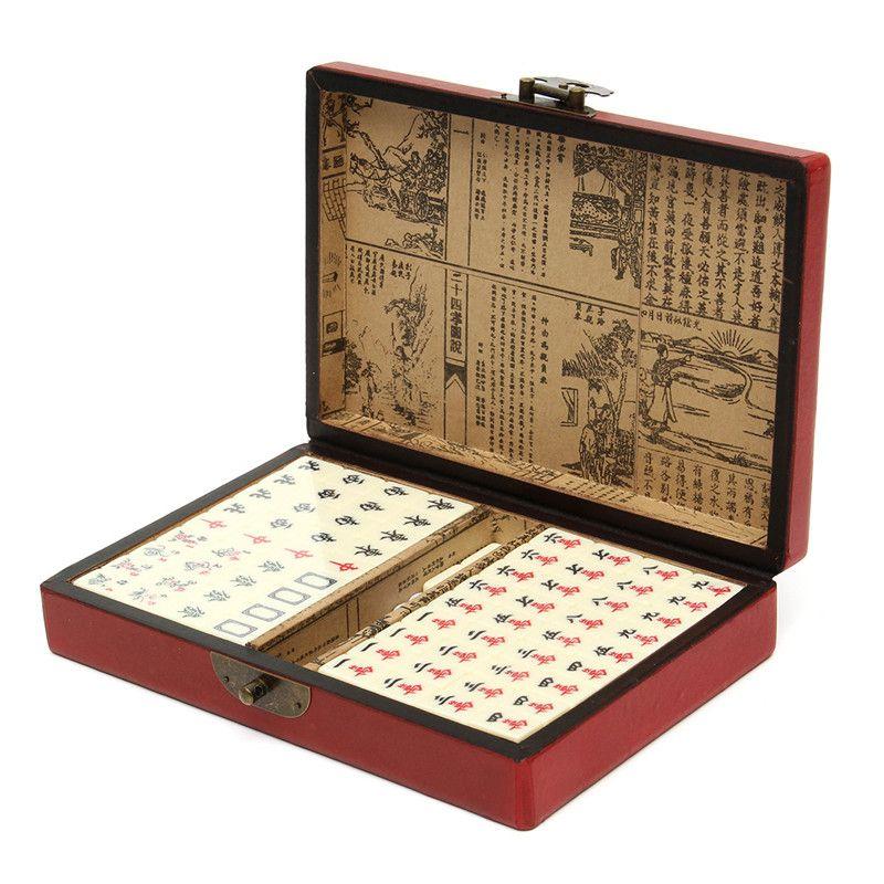 144 Плитки маджонг набор Многоцветный Портативный Винтаж маджонг редкие китайские игрушки с кожаной коробке