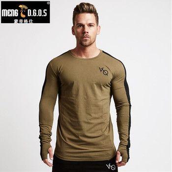 Новая Осенняя мужская футболка с длинными рукавами из хлопка реглан с рукавом тренажерные залы фитнес-тренировки одежда мужская Повседнев...