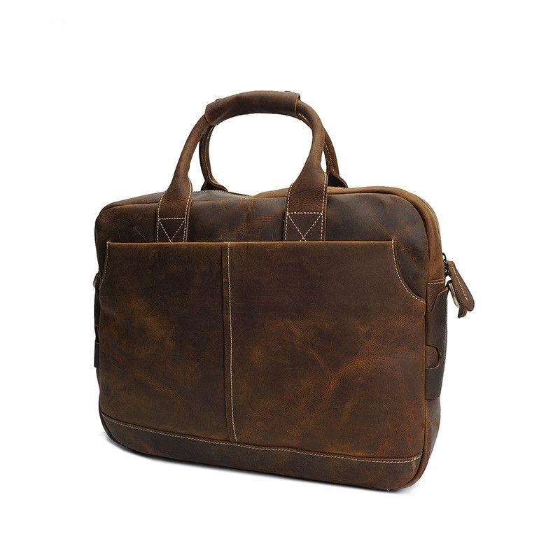 Men Bags Crazy Horse Leather Brand Man Crossbody Shoulder 17 <font><b>laptop</b></font> Handbag Vintage large Male Briefcase Men's Travel Bag