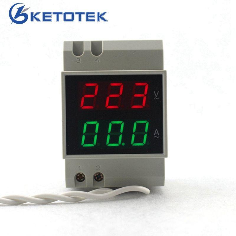 RAIL DIN AC 80-300 V AC 200-450 V AC 0.1 0,2-99.9A Double led Numérique Voltmètre ampèremètre AC Tension Current Meter Moniteur