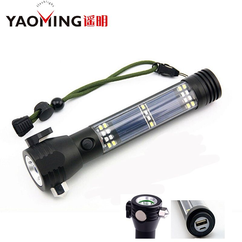 4000LM Rechargeable Multifunction Emergency Torch Lights USB Power Bank Led Solar Flashlight With Safety Hammer <font><b>Compass</b></font> Magnet