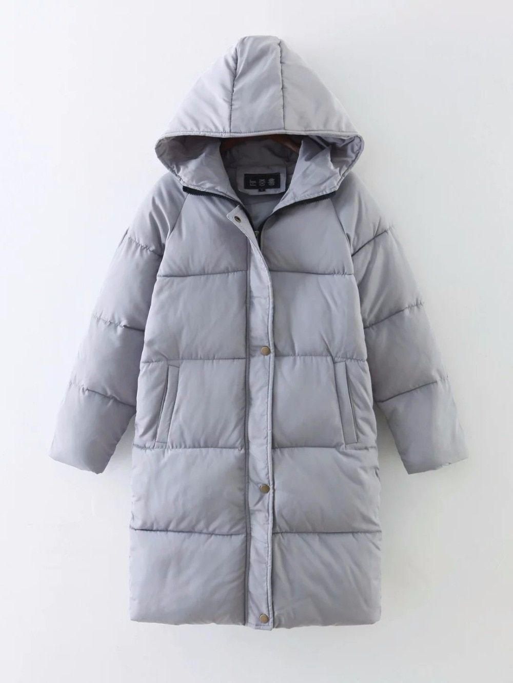The new winter 2018 hooded thickening take cotton-padded clothes female big yards of bread Han edition paragraph hr