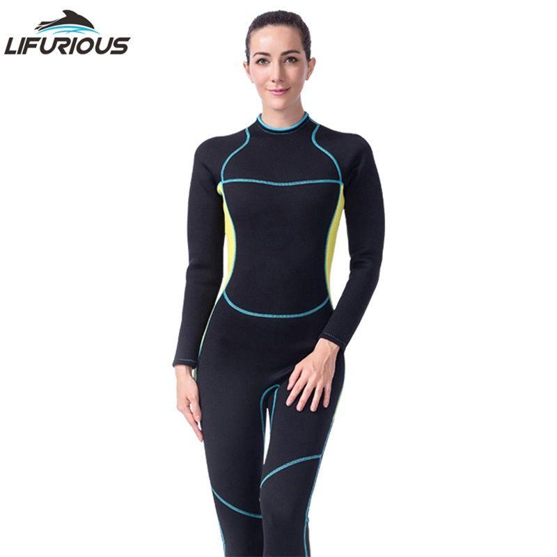 LIFURIOUS Neue Schnorcheln Badebekleidung Neoprenanzüge Frauen Surfen Neoprenanzug Tauchen Overall einteilige Langärmelige Speerfischen