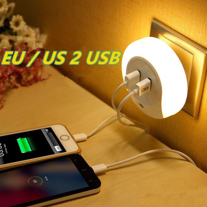 LED capteur de lumière de nuit 2 USB prise de charge LED 110 V 220 V 0.5 W lampe de nuit automatique intelligence lumière blanche chaude pour chambre