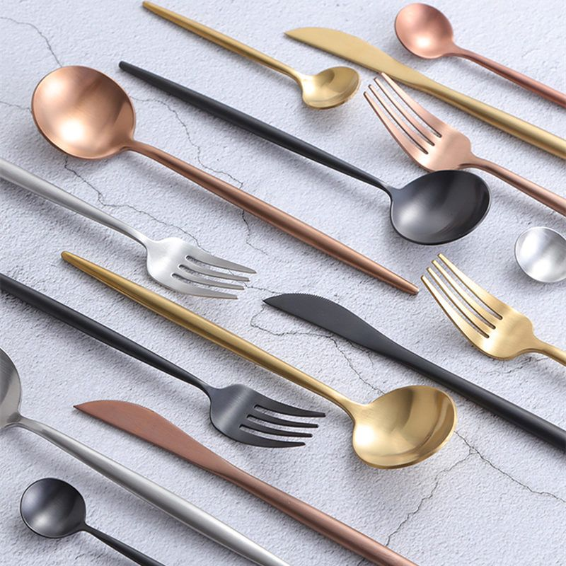 KuBac Hommi 24pcs Rose Gold Cutlery Set Wedding Black Dinnerware Forks Knives Scoops Set 18/10 Stainless Steel Silverware Set