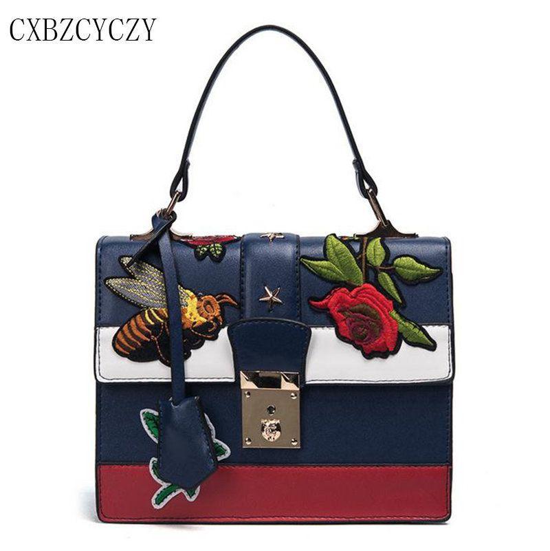 2017 Brand Famous PU Leather Handbag Women Luxury Shoulder Messenger Bag Embroidery Bags Designer Crossbody Bags For Girl Bolsos