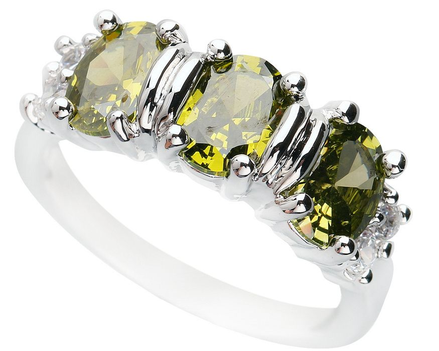 Good-Looking Olivine Peridot 5*7mm Semi-precious Stone Silver cool for women Ring Q1070