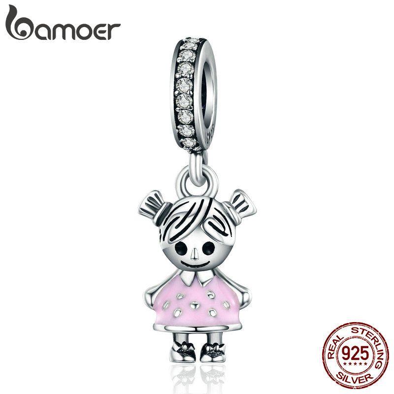 BAMOER Fashion 100% 925 Sterling Silver <font><b>Couple</b></font> Little Girl Pendant Charm fit Girls Charm Bracelet & Necklaces DIY Jewelry SCC543