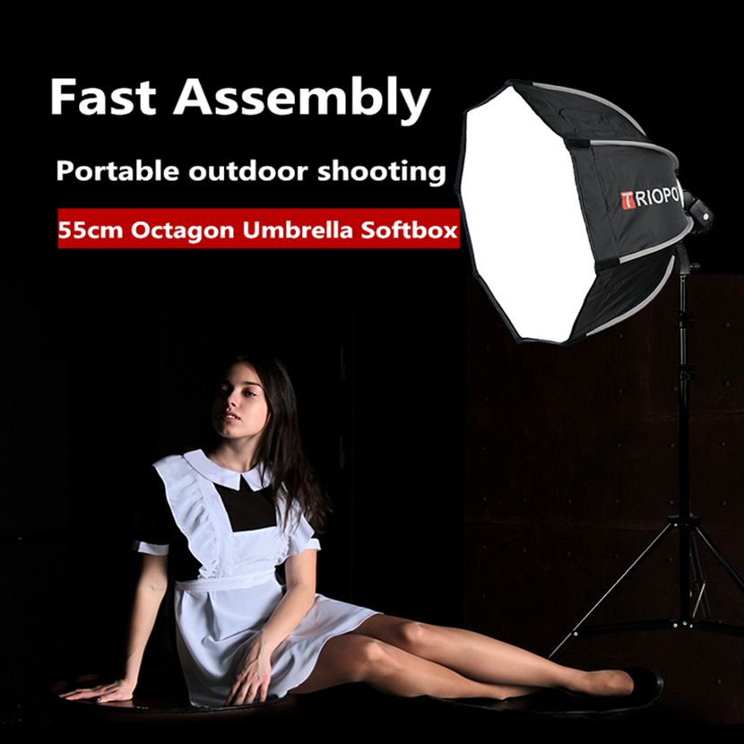TRIOPO 55cm Portable Outdoor Octagon Umbrella Softbox For Godox V860II TT600 TT685 YN560 III IV TR-988 Flash Speedlite Soft Box