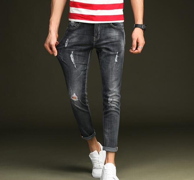 Free Shipping Spring Stylish Holes Men Jeans On Hot Sales