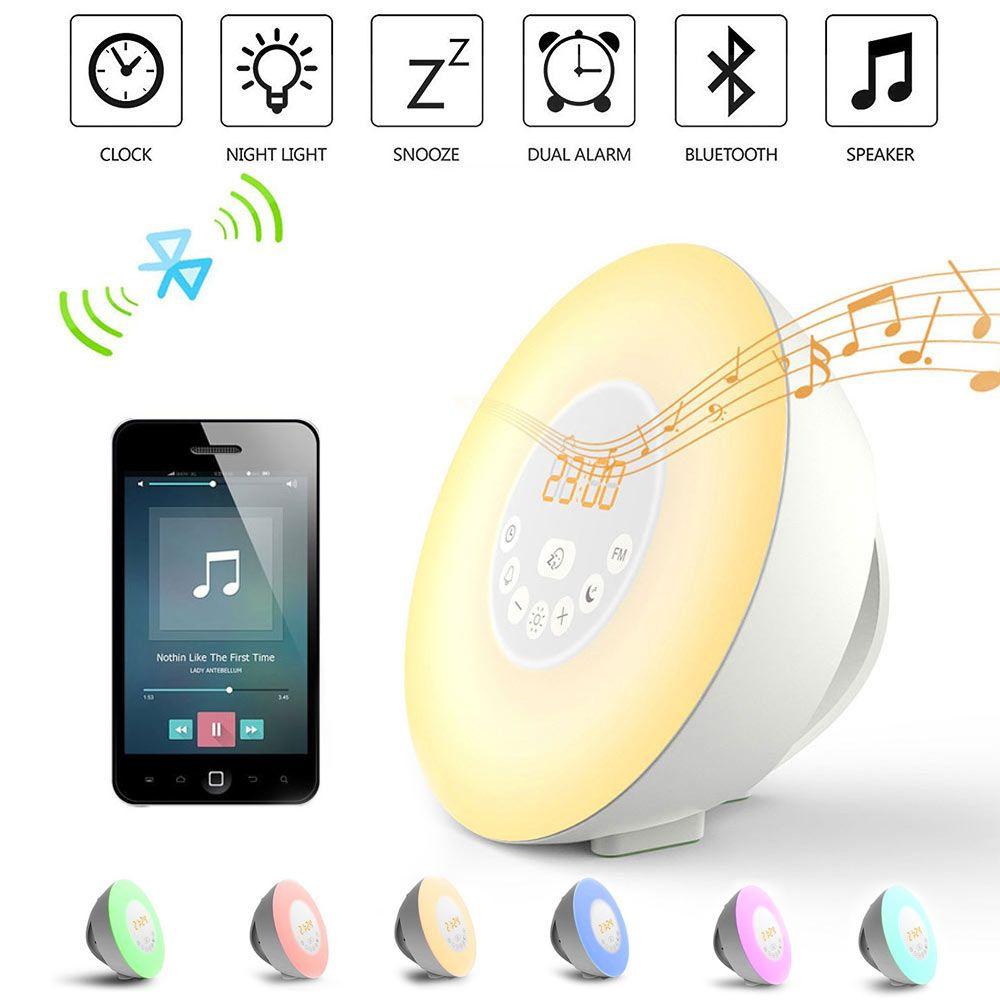 Wake Up FÜHRTE Licht Alarm Lampe mit Snooze Wecker Radio Bluetooth Freisprecheinrichtung Dämmerung Lichter Neue