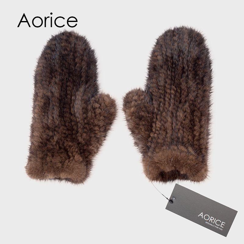 Aorice gf702 из натуральной норки Мех животных перчатки Прихватки для мангала рукавица Новый Мех животных Дизайн для этой зимой