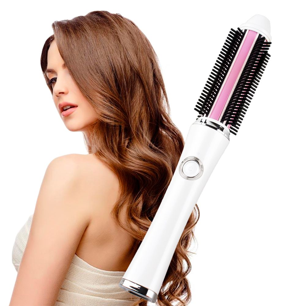 2018 New Portable Hair Curler Brush 2 in 1 Straightener Iron Rechargeable Battery Electrical Curling Brushes Straightening Comb