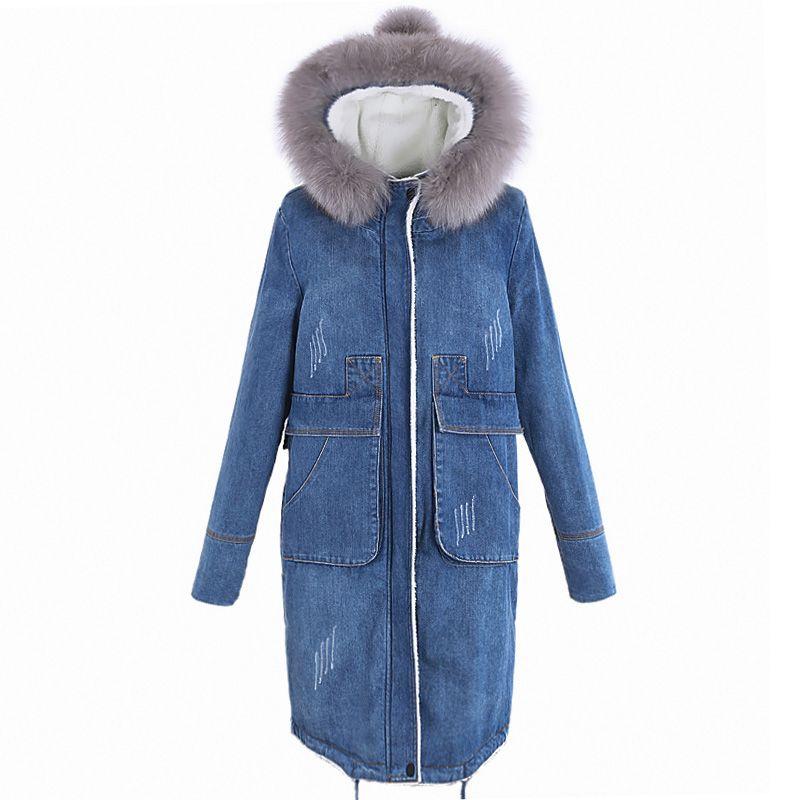 2018 neue frauen Parka Winter Denim Jacke Plus Samt Verdicken Warme Baumwolle Mantel Nachahmung Fuchs Pelz Kragen Mit Kapuze Jacke frauen