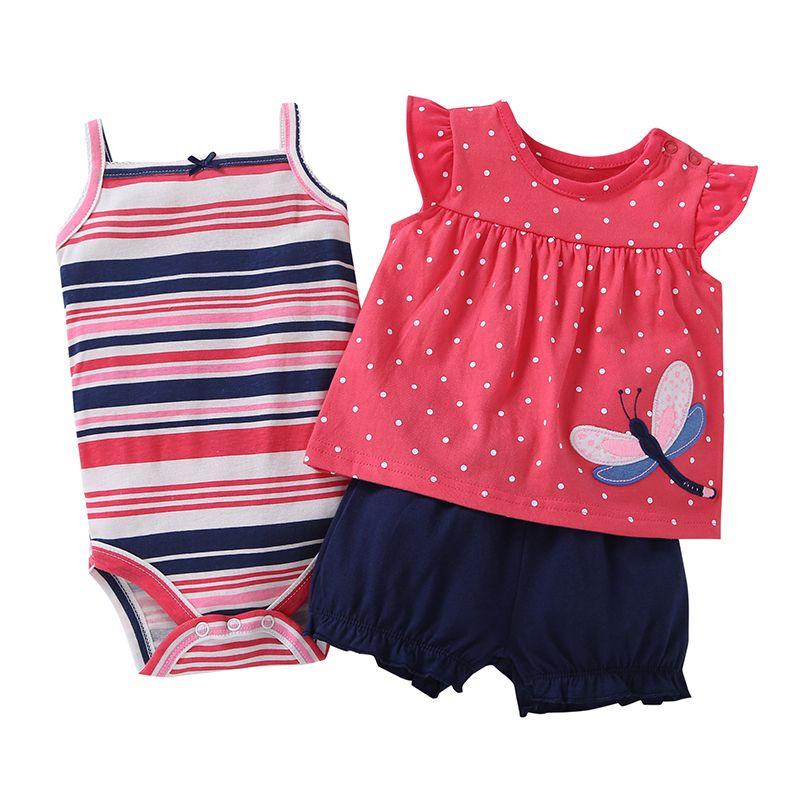 Bébé fille vêtements ensemble été 2019 tenue floral rouge barboteuse + body + shorts coton nouveau-né bebes vêtements bébés costume nouveau-né