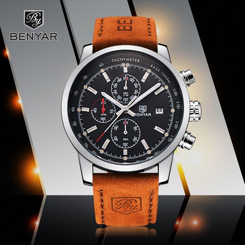 Reloj Hombre 2017 Топ люксовый бренд benyar модные Хронограф Спортивные мужские Часы Военная Униформа кварцевые часы Relogio Masculino