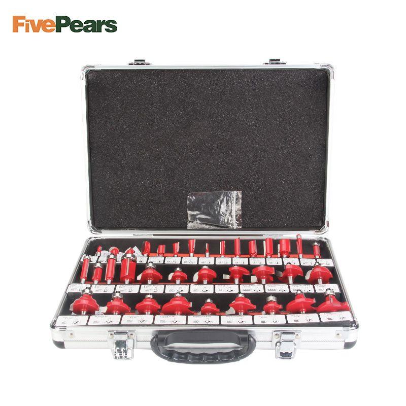 FivePears 35 stücke 8mm Router Bits Set Professional Schaft Hartmetall Router Bit Cutter Set Mit Holz Fall Für holz