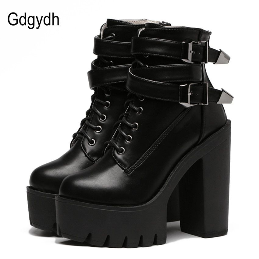 Gdgydh 2018 Spring Fashion Women Boots High Heels Platform Buckle Lace Up Leather Short Booties Black Ladies Shoes Good Quality