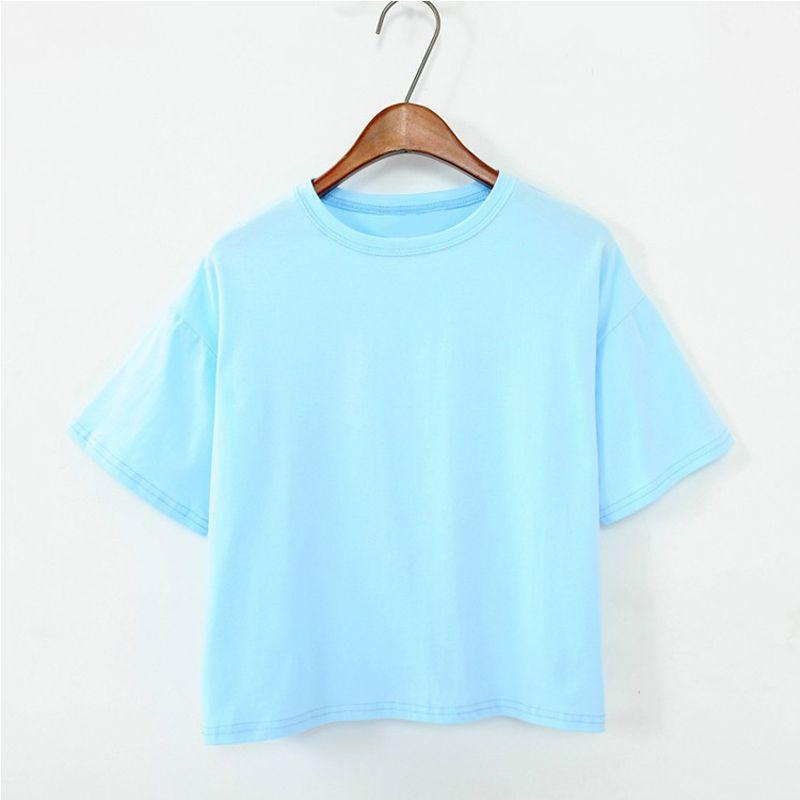11 Couleurs 2018 D'été de Style Femmes T Shirt Femmes Tops Candy-couleur Lâche De Mode Sauvage O-cou Solide Couleur T-shirt Femelle T chemises