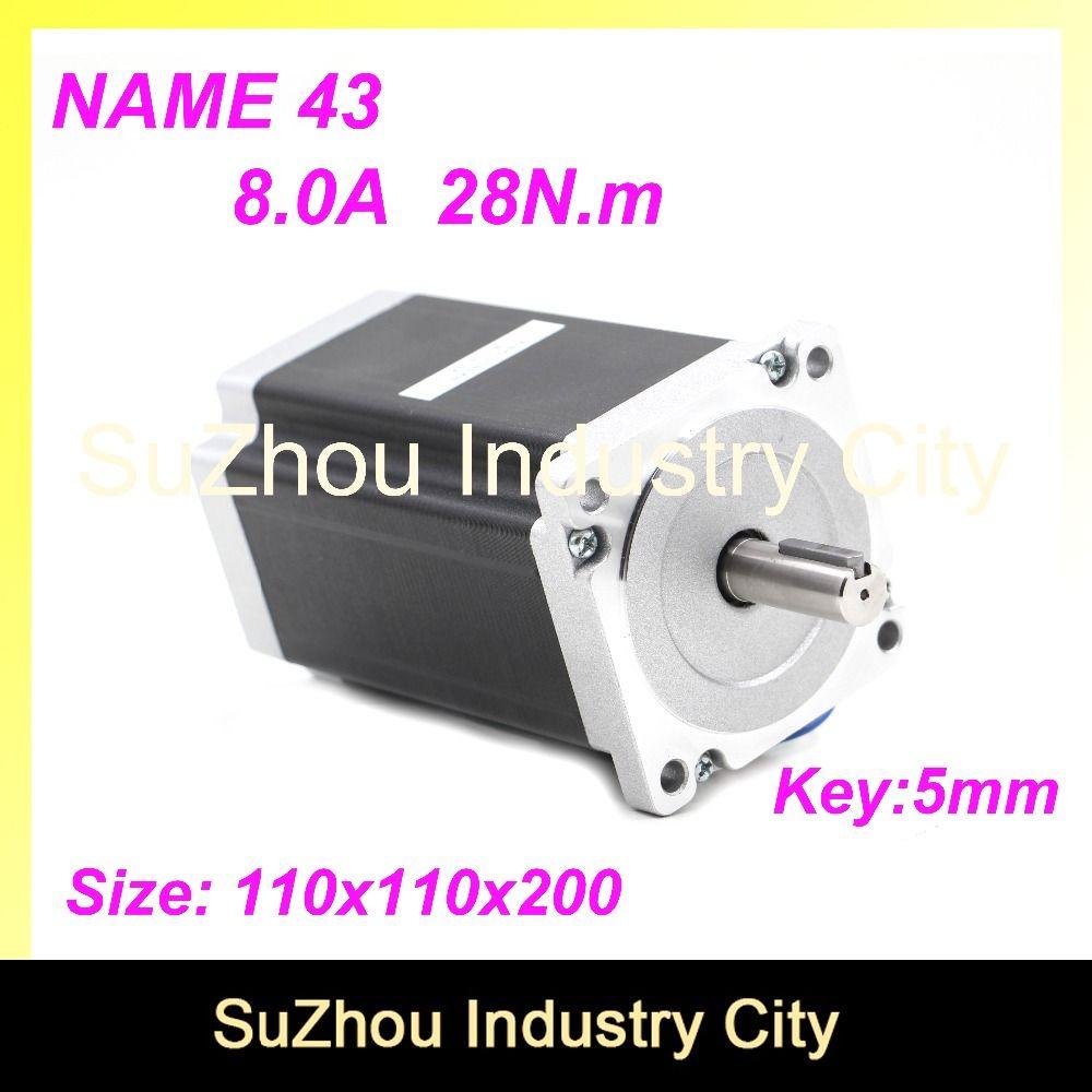 High Torque NEMA43 CNC stepper motor 110mm motor 28N.m 8A shaft 19mm stepping motor