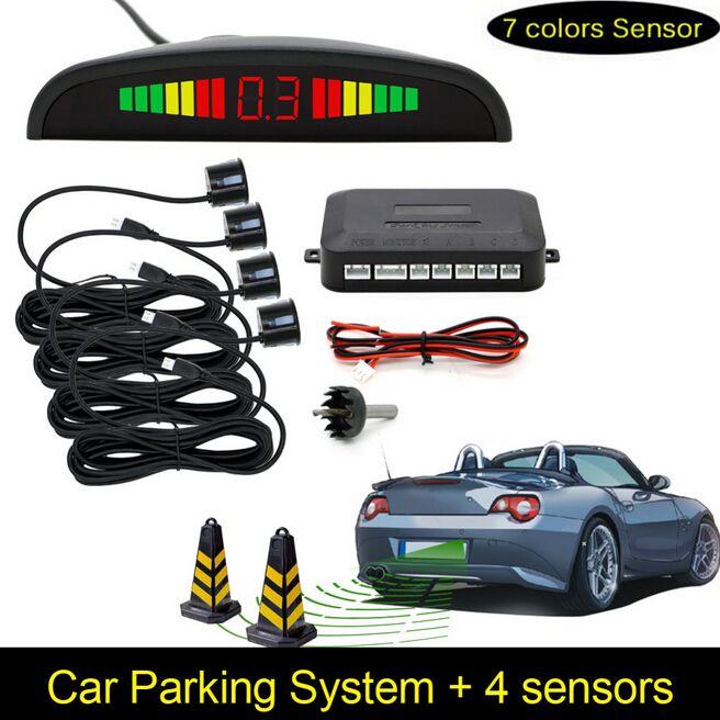 Capteurs de Stationnement de voiture Parktronics 4 Noir/argent/blanc 13mm Réglable Plat Capteurs Radar De Secours renversé Son Buzzer alarme 008