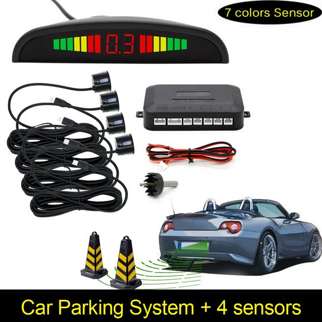 Car Parking Sensors Parktronics 4 Black/silver/white 13mm Adjustable Flat Sensors <font><b>Reverse</b></font> Backup Radar Sound Buzzer Alarm 008