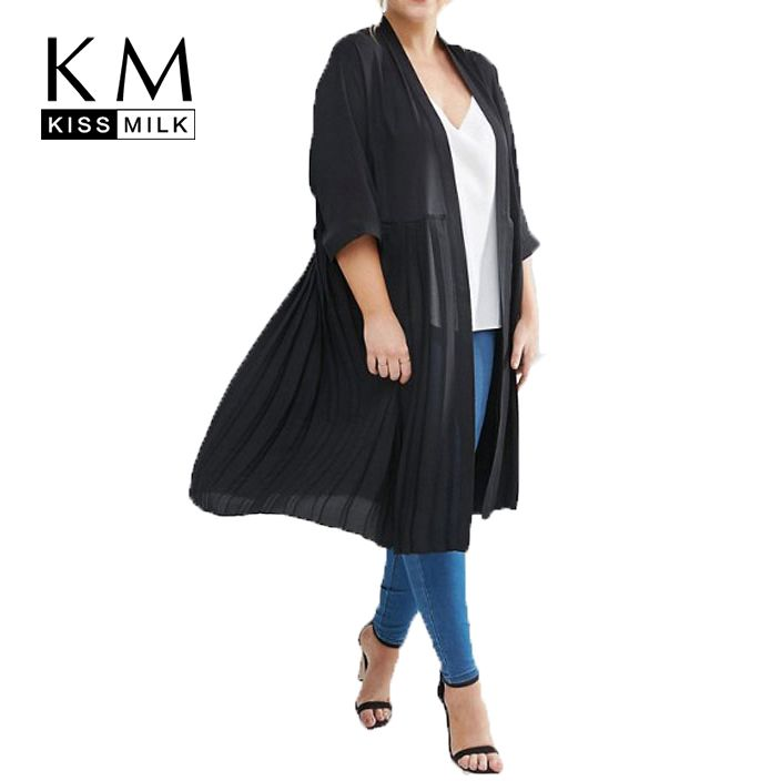 Kissmilk Plus Size Women Clothing Casual Solid Elegant Trench Coat Black Open Stitch Fold Thin Coat Three Quarter Big Size Coat
